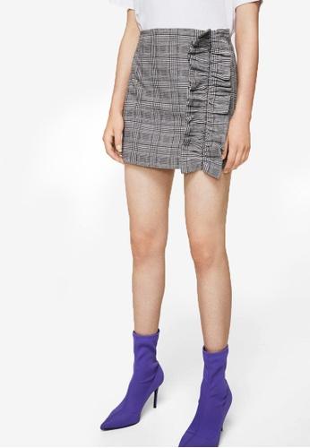 Mango grey Check Pattern Ruffled Skirt MA193AA0RIITMY_1