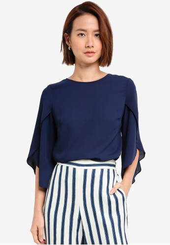 Dorothy Perkins navy Navy Tie Back Frill Sleeve Top 0B978AAC0AA30CGS_1