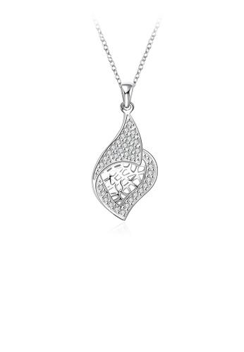 Glamorousky white Fashion Elegant Leaf Pendant with Austrian Element Crystal and Necklace 1BAF0AC32C2F30GS_1