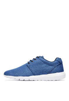 【ZALORA】 MIT。個性型男。低調人字紋休閒鞋-04785-藍色