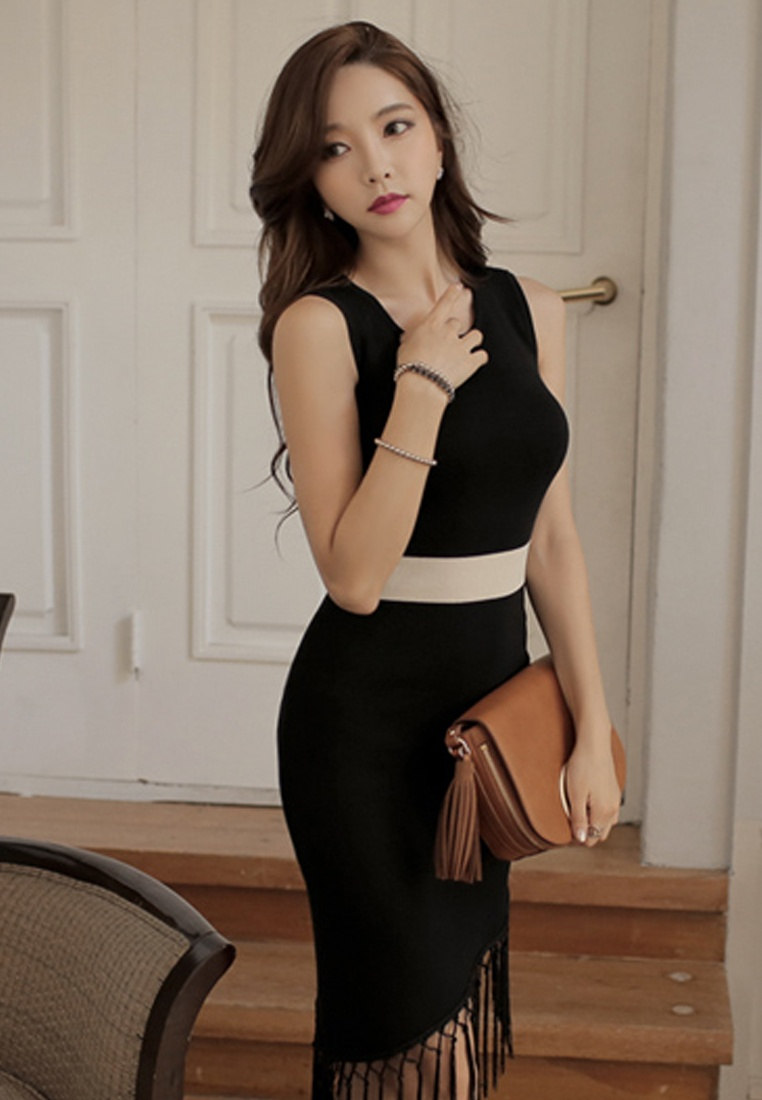 W Slim Black A083101 Piece Sunnydaysweety 2017 Black One F Sleeveless Cutting Dress 5q7S7Iw6