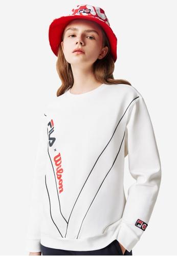 FILA white Online Exclusive FILA x Wilson Logo Slash Printed Sweatshirt 66D1CAA0540C59GS_1