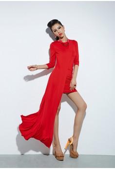 O-Neck Asymmetrical Long Dress