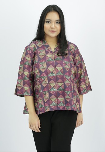 House of Kain purple Blouse Batik Dobi AEB94AA03723C5GS_1