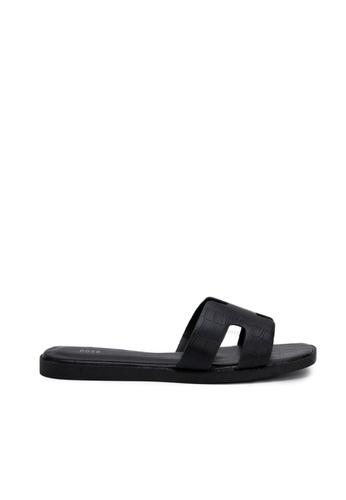 nose black Faux Crocodile Flat Slides E74CFSHF8CC5C0GS_1