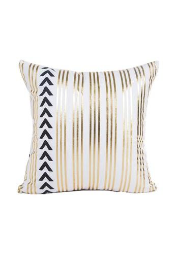 DILAS HOME Stripe Gold Print Cushion Cover 6B594HL9DED2D9GS_1