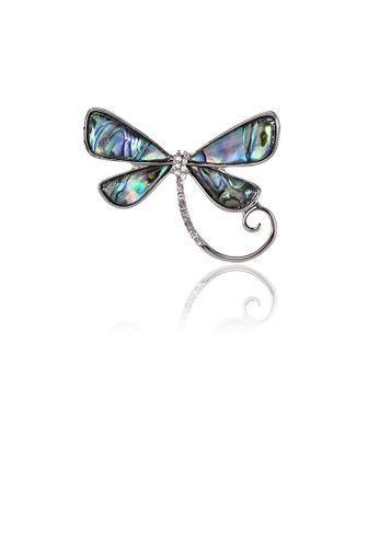 Glamorousky white Simple and Fashion Blue Butterfly Shell Brooch with Cubic Zirconia A3170AC8B81248GS_1