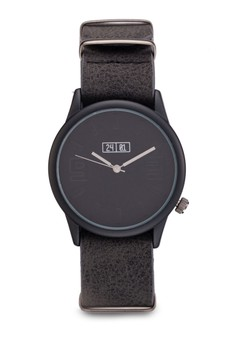 Texturized Faux Leather Detachable Watch