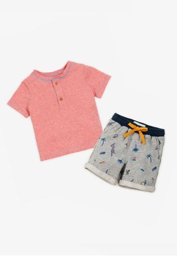Gingersnaps multi Baby Boys Henley Tshirt And Shorts Set B1603KAE7A0986GS_1