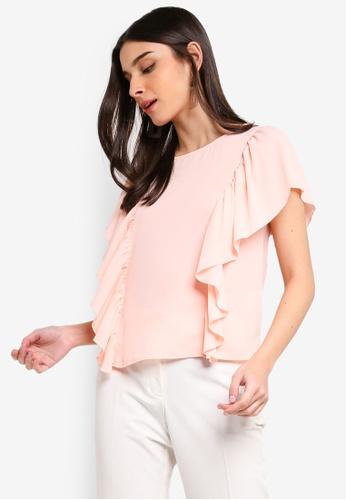 ZALORA 粉紅色 荷葉飾上衣 11C6FAA812D1D7GS_1