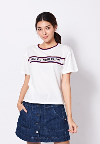 United Colors of Benetton white Printed T-shirt 3268EAA46D293EGS_1