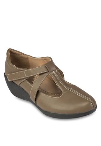 交叉帶厚底休閒鞋, 女鞋, esprit 中文楔形鞋