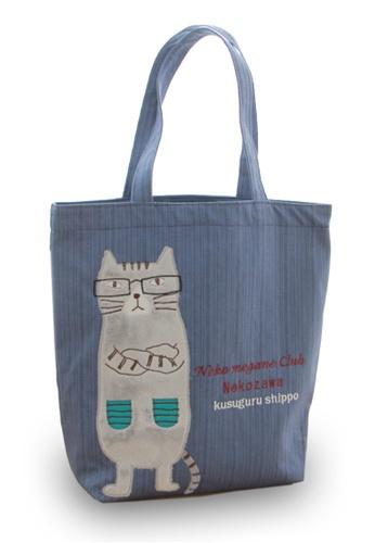 LULUGIFT blue Lulugift Kusuguru Shippo Nekozawa Mori Candy Tote Bag Blue LU989AC0SELYMY_1