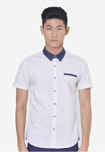 Private Stitch white Full Printed Short Sleeve Shirts PR777AA76ADFMY_1