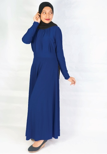 Zaryluq blue Lycra Wrap Dress in Royal Blue E3807AA6CCB5BAGS_1