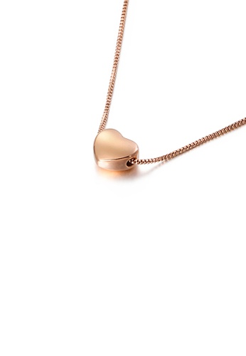 Glamorousky silver Simple and Sweet Plated Rose Gold Heart-shaped 316L Stainless Steel Pendant with Necklace D9E9CACBB160A1GS_1