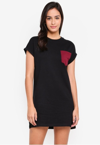 Something Borrowed black Pocket Detail Tee Dress FA373AACE9977AGS_1