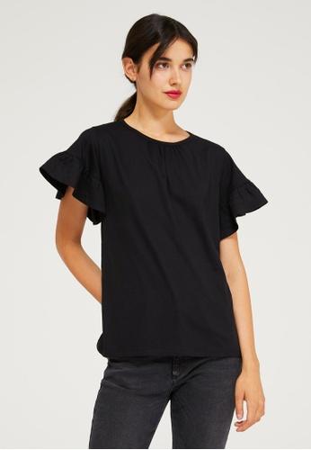 SISLEY 黑色 荷葉短袖T恤 2C856AA2DF4F61GS_1