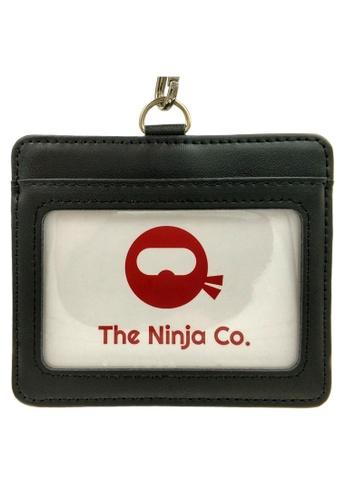 LUXORA black The Ninja Co. Card Holder Lanyard - Split Genuine Leather - ID Access Wallet Men Women Gift Black 3197DAC36B8AA1GS_1