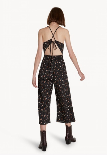 09c00b654dec Shop Pomelo Cropped Floral Cross Back Jumpsuit - Black Online on ...