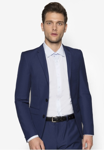 Burton Menswear London blue Slim Fit Indigo Essential Suit Jacket  BU964AA98OQFMY_1