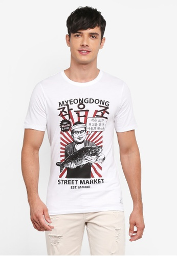 Only & Sons white Sylvester Tee 65061AA9CFEB69GS_1