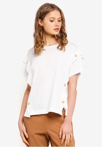 ESPRIT white Button Short Sleeve T-Shirt 94FF2AA5F1CD03GS_1