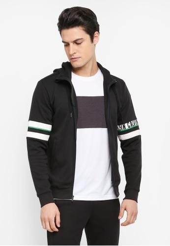 Calvin Klein black Hood Jacket with Sleeve Stripe - Calvin Klein Performance 18356AAEC78CE2GS_1