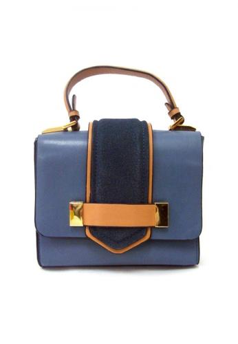 LULUGIFT blue and brown Lulugift Art Couture Sling Shoulder Bag Blue LU989AC36YNFMY_1