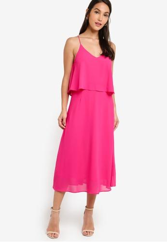 ZALORA 粉紅色 荷葉飾交叉繞背洋裝 135A9AA5502A6AGS_1