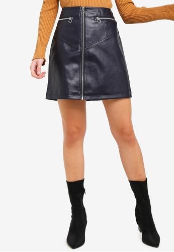 Vero Moda navy Siva Connery Faux Leather Skirt 2EA51AA36CDA4FGS_1