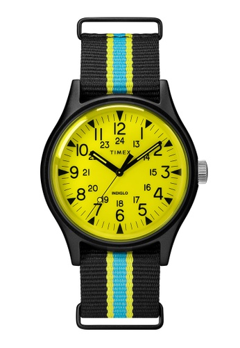 Timex black and yellow and blue Timex MK1 Aluminum California 40mm - Black Case & Fabric Strap (TW2T25700) 595CFAC2D6C63FGS_1
