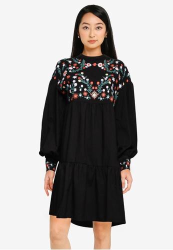ZALORA BASICS black Embroidered Babydoll Dress C561DAA1F01B1CGS_1