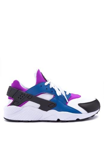 Nike black and white and blue Nike Air Huarache Run Shoes NI126SH0IVIPPH_1