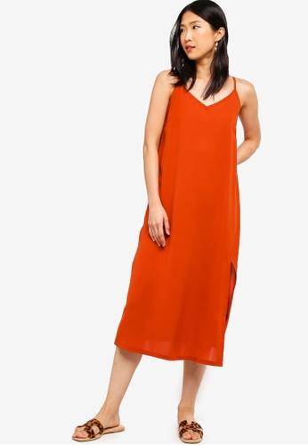 ZALORA BASICS orange Basic Midi Slip Dress 2AD2BAA80917ADGS_1