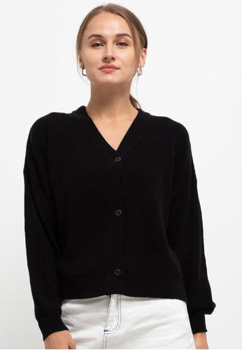 Button On black Dolman Sleeve Relax Cardigan CD10CAA2440E02GS_1