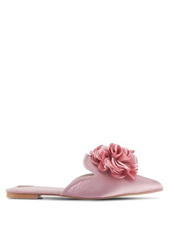 Velvet pink Slip-on flats with flower detail CC81ESHC45CAAEGS_1