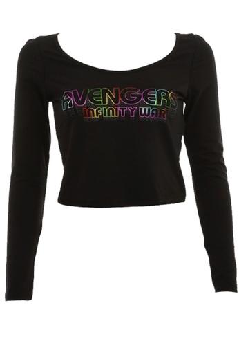 MARVEL black MARVEL Avengers Women Long Sleeve Crop Black 4BD22AA65237A0GS_1