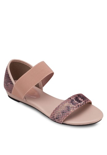蛇esprit hong kong紋印花平底涼鞋, 女鞋, 涼鞋