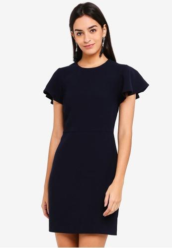 WAREHOUSE navy Frill Sleeve Dress 7202BAAD222952GS_1