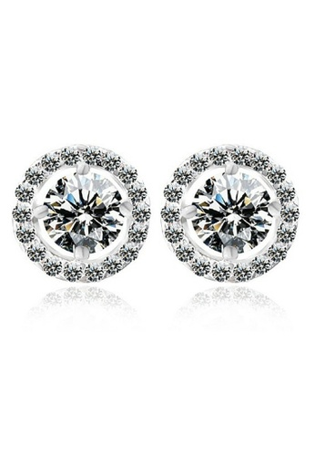 Vivere Rosse silver Sona Solitaire Diamond Simulant 18K White Gold Plated Stud Earrings VI014AC77ZWKMY_1