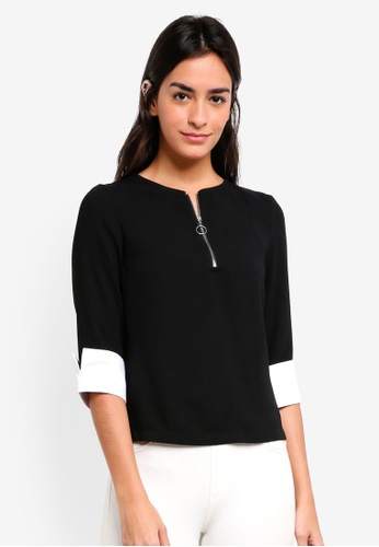 ZALORA black O Ring Detailed Top A5D12AA3EB320BGS_1