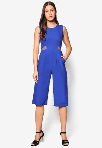 Agnes 基本款網紗拼接連身褲, zalora時尚購物網的koumi koumi服飾, 連身褲