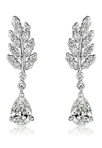 Vivere Rosse silver The Leaves Diamond Simulant Drop Earrings VI014AC86ZWBMY_1
