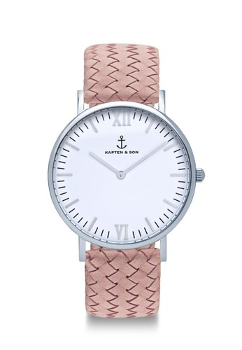 """Kapten & Son pink Campina Silver """"Rose Woven Leather"""" EC945ACF464490GS_1"""