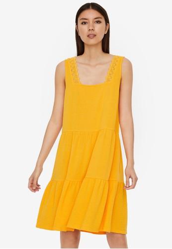 Vero Moda orange and yellow Sleeveless Midi Dress 71D35AAA6C384DGS_1