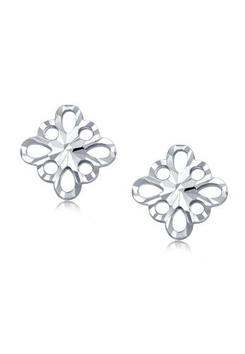 MaBelle silver 14K White Gold Filigree Stud Earrings MA584AC2W72YHK_1
