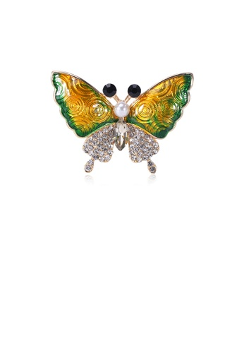 Glamorousky white Fashion and Elegant Plated Gold Green Butterfly Imitation Pearl Brooch with Cubic Zirconia E665EAC5486030GS_1