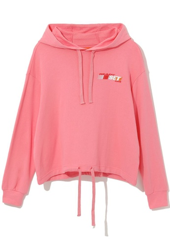 tout à coup pink Drawstring hem hoodie 48106AA140AA66GS_1