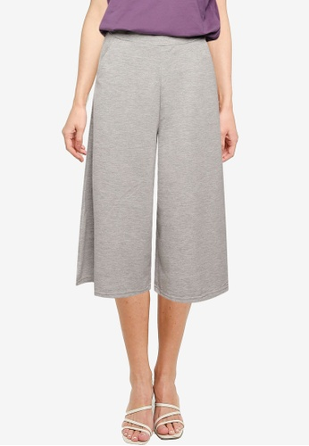 UniqTee grey Cropped Wide Leg Pants C0599AAE252879GS_1